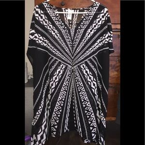Catherines Blk/Wht Sheer Tunic /w Tank Top sz 1X
